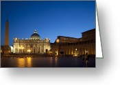 Roman Catholic Greeting Cards - St. Peters Basilica at Night Greeting Card by David Smith