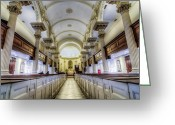 Sacred Photo Greeting Cards - St. Phillip Pews Greeting Card by Drew Castelhano