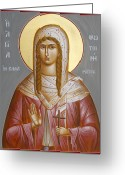 Byzantine Icon Greeting Cards - St Photini - The Samaritan Woman Greeting Card by Julia Bridget Hayes