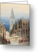 Caen Greeting Cards - St. Pierre Caen Greeting Card by David Roberts