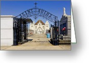 Cemetery Gate Greeting Cards - St Rochs Cemetery Greeting Card by Steve Harrington