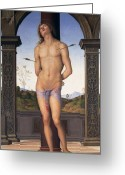 Martyr Greeting Cards - St Sebastian Greeting Card by Pietro Perugino