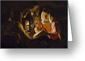 Martyr Greeting Cards - St. Sebastian Tended by Irene Greeting Card by Georges de la Tour