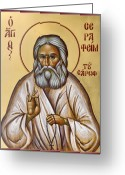 Byzantine Icon Greeting Cards - St Seraphim of Sarov Greeting Card by Julia Bridget Hayes