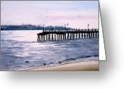 Pier Greeting Cards - St. Simons Island Fishing Pier Greeting Card by Sam Sidders