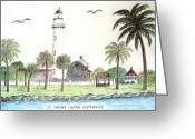 Historic Lighthouse Drawings Greeting Cards - St Simons Island Lighthouse  Greeting Card by Frederic Kohli