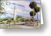 Beacon Greeting Cards - St. Simons Island Lighthouse Greeting Card by Sam Sidders