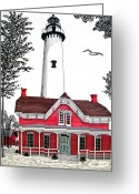Historic Lighthouse Drawings Greeting Cards - St Simons Lighthouse - Museum Greeting Card by Frederic Kohli