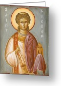 Byzantine Icon Greeting Cards - St Stephen II Greeting Card by Julia Bridget Hayes