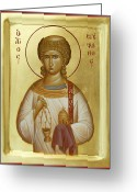 Byzantine Icon Greeting Cards - St Stephen the First Martyr and Deacon Greeting Card by Julia Bridget Hayes