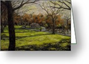 Giclee Pastels Greeting Cards - St. Stephens Green Dublin Greeting Card by John  Nolan