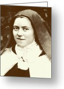 Spiritual Pyrography Greeting Cards - St. Therese of Lisieux - The Little Flower Greeting Card by Christi Studio