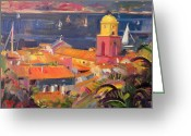 Waters Painting Greeting Cards - St Tropez Sailing Greeting Card by Peter Graham