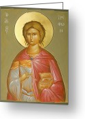 Byzantine Icon Greeting Cards - St Tryphon Greeting Card by Julia Bridget Hayes