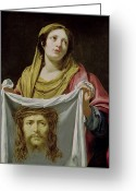 Jesus Painting Greeting Cards - St. Veronica Holding the Holy Shroud Greeting Card by Simon Vouet