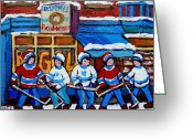 Store Fronts Greeting Cards - St Viateur Bagel Hockey Game Montreal City Scene Greeting Card by Carole Spandau
