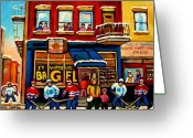 City Scapes Framed Prints Greeting Cards - St. Viateur Bagel Hockey Practice Greeting Card by Carole Spandau