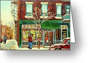 Winter Photos Painting Greeting Cards - St Viateur Bagel Shop Montreal Greeting Card by Carole Spandau