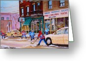 Hockey On The Streets Of Montreal Greeting Cards - St. Viateur Bagel with boys playing hockey Greeting Card by Carole Spandau