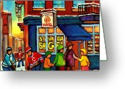 Montreal Hockey Art Greeting Cards - St. Viateur Bagel With Hockey Greeting Card by Carole Spandau