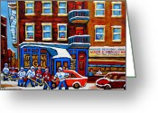 Sports Art Painting Greeting Cards - St Viateur Bagel With Hockey Montreal Winter Street Scene Greeting Card by Carole Spandau