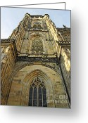 Tall Buildings Greeting Cards - St Vitus Cathedral Prague - The realms of non-being Greeting Card by Christine Till