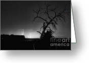 Lightning Bolt Pictures Greeting Cards - St Vrain Tree Lightning Storm BW Greeting Card by James Bo Insogna