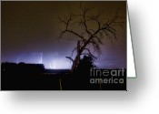 Lightning Bolt Pictures Greeting Cards - St Vrain Tree Lightning Storm  Greeting Card by James Bo Insogna