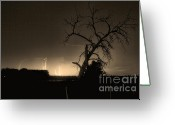 Lightning Weather Stock Images Greeting Cards - St Vrain Tree Lightning Storm Sepia BW Greeting Card by James Bo Insogna