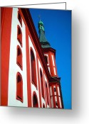 Village Church Greeting Cards - St. Wenzel - Loket Greeting Card by Juergen Weiss