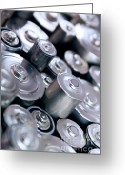 Close Up Greeting Cards - Stack Of Batteries Greeting Card by Carlos Caetano