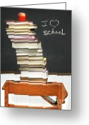Learning Photo Greeting Cards - Stack of books on an old school desk  Greeting Card by Sandra Cunningham