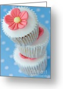 Sweet Spot Greeting Cards - Stack of cupcakes Greeting Card by Ruth Black