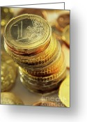 Rich Colored Greeting Cards - Stack Of Euros Coins Greeting Card by Sami Sarkis