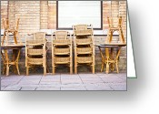 Wicker Chairs Greeting Cards - Stacked chairs Greeting Card by Tom Gowanlock
