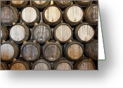 Process Greeting Cards - Stacked Oak Barrels In A Winery Greeting Card by Marc Volk
