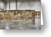 Wooden Pallets Greeting Cards - Stacks of Boxes and Pallets Greeting Card by Jetta Productions, Inc