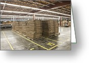 Wooden Pallets Greeting Cards - Stacks of Boxes on Pallets Greeting Card by Jetta Productions, Inc