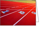 Athletic Greeting Cards - Stadium Track Greeting Card by Olivier Le Queinec