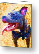 Terrier Greeting Cards - Staffordshire Bull Terrier in Oil Greeting Card by Michael Tompsett