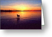 Sun Painting Greeting Cards - Staffordshire Bull Terrier on Lake Greeting Card by Michael Tompsett