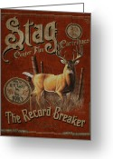 Deer Greeting Cards - Stag Record Breaker Sign Greeting Card by JQ Licensing
