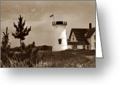 Cape Cod Mass Photo Greeting Cards - Stage Harbor Lighthouse Greeting Card by Skip Willits