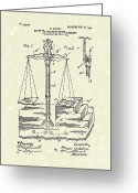 Magic Tricks Greeting Cards - Stage Illusions 1906 Patent Art Greeting Card by Prior Art Design