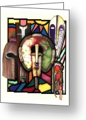 Glass Drawings Greeting Cards - Stain Glass Greeting Card by Anthony Burks