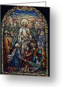Sunday Greeting Cards - Stained Glass - Palm Sunday Greeting Card by Munir Alawi