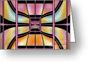 Digital Images Greeting Cards - Stained Glass 7 Greeting Card by Cheryl Young