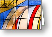 Stain Glass Patterns Mosaic Greeting Cards - Stained Glass Greeting Card by Carolyn Marshall