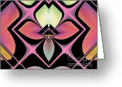 Digital Images Greeting Cards - Stained Glass Greeting Card by Cheryl Young