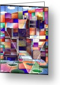 Blue Green Water Greeting Cards - Stained Glass Factory Greeting Card by Jane Bucci
